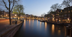 Amsterdam. (alamsterdam) Tags: amsterdam longexposure reflection canals cars houseboats people evening buildings architecture bikes amstel groenburgwal
