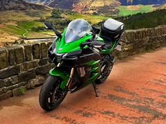 The eagle has landed....Kawasaki H2SXSE....comes with a free kitchen so Jus thinks ! (TrevKerr) Tags: h2sxse kawasaki green landscape motorbike moto motorcycle
