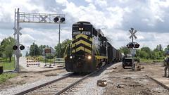 First Train, M-49, Reading, Michigan (Troy Strane) Tags: indiananortheastern reading michigan m49 crossing 2185 nikon d850 hillsdalecounty gp30