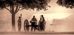 Confederate Artillery (Wes Iversen) Tags: civilwar civilwardays confederate detroit hmbt historicfortwayne michigan monochromebokehthursday nikkor18300mm artillery cannons men people reenactments reenactors sepia