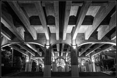 Under the bridge (Donald Noble) Tags: bilbao europe spain architecture bridge building concrete light monochrome night steps symmetry