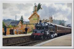 Train arriving at platform 1(UK) (williamwalton001) Tags: pentaxart texture timber historic steam stone buildings railway engine effect