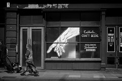 Rude to Point (garryknight) Tags: sony a6000 on1photoraw2018 london blackandwhite monochrome mono themonoseries shoreditch bar drinks alcohol woman hand streetart graffiti point pointing street candid allrightsreserved