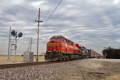 NS 239 crossing Interstate 70 (tim_1522) Tags: railroad railfanning rail missouri mo searchlight signals norfolksouthern ns stlouisdistrict heritage 8114 generalelectric gevo c409w es44ac autoracks clouds