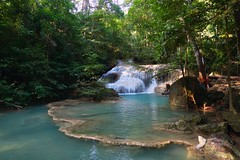 Erawan waterfall in Kanchanaburi, Thailand (UweBKK (α 77 on )) Tags: erawan waterfall national park water river flow cascade tier level green foliage trees forest kanchanaburi province thailand southeast asia sony alpha 77 slt dslr