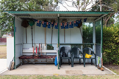 Maribyrnong (Westographer) Tags: maribyrnong melbourne australia westernsuburbs suburbia trugoclub trugo trugomallets australianflags seating ascotvaletrugoclub oldschool shelter