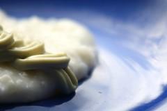 Heavenly Wasabi on the Rice Cloud (arcticbramble) Tags: macromondays condiment wasabi rice blue white sininen valkoinen riisi food ruoka plate lautanen reflection heijastus