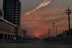 Sunset on a desert street of Erbil (rvjak) Tags: irak sunset street rue city sky dusk kurdistan iraq d750 nikon building bâtiment desert erbil travel voyage