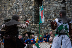 Sebastian vs Owain (Coed Celyn Photography) Tags: medieval reenactment harlech snowdonia north wales knight knights castle castell cadw history historic historical living larp battle armour armor fighting fight weapon weaponry weapons costume clothing outfit sir chainmail sword swords shield glave helmet