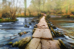 Stepping Stones.... (Photography by Julia Martin) Tags: photographybyjuliamartin exmoor tarrsteps causway ancientclapperbridge ancientmonument somerset woodland oldbridge stonebridge longexposure mist hardlyanytouriststoday riverbarle leeproglass leefilter
