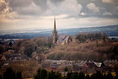 St Thomas Church (Missy Jussy) Tags: rochdale village newhey stthomaschurch stthomastheapostle landscape lancashire land sky clouds spire views horizon sunlight fields trees industry house 70200mm ef70200mmf4lusm ef70200mm canon70200mm canon5dmarkll canon5d canoneos5dmarkii canon outdoor outside