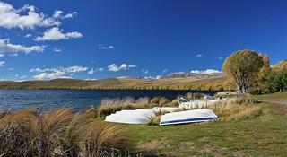 Boats at Lake Alexandrina, New Zealand
