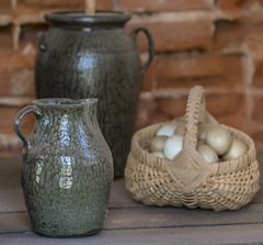 Country table (Mark Chandler Photography) Tags: 2016 ga georgia kelby markchandler photowalk roswell church color colour house model photo photography stock table basket eggs jars ceramics country kitchen