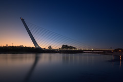 Alamillo en el Ocaso... (protsalke) Tags: bridge colors sevilla alamillo blue lights longexposure twilight beautiful calm quiet sunset water reflections andalucia nikon ndfilter guadalquivir colores atardecer