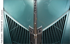 Pale Green – 1940 Ford V8 (jwvraets) Tags: grimsby gateway carshow classiccars car automobile vintage ford 1940 v8 grille hood chrome green symmetry opensource rawtherapeegimp nikon d7100 nikkor50mmf18d