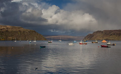 #18 Tranquility (music_man800) Tags: scotland scottish uk united kingdom isle skye inner hebrides island loch portree harbour sea water boats fishing surface reflections still calm tranquil peacw peace evening dusk late may golden hour afternoon colours colourful sunny sunset beautiful scene scenery horizon grey cloud cloudy clouds weather stormy fish chips roadtrip road trip holiday break canon 700d adobe creative edit photography artistic travel travelling photos