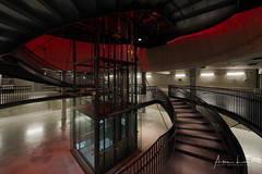 T&T Parking IV (Alec Lux) Tags: architecture belgium brussel brussels building city cityscape curves design elevator indoor inside interior lights lines night nightscape park parking red staircase stairs structure taxis tour tourtaxis underground urban bruxelles be