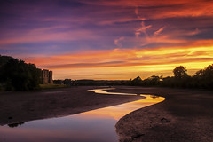 CarewCastleSunsetWater (sionesmond) Tags: castle carew pembrokeshire sunset water dusk evening reflections