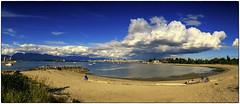 From Jericho Beach (muzza_buck) Tags: cellphone panorama clouds beach water sea sky ship boats vancouver britishcolumbia
