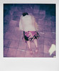 Day 008 (H o l l y.) Tags: polaroid instant film analog square flash photography self portrait blanket floor marble stone dress dirty feet glare diamond hands tired alone retro indie vintage hiding