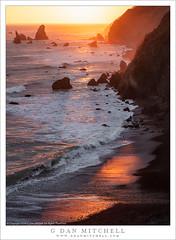 Sea Stacks, Cliffs, Sunset (G Dan Mitchell) Tags: northern california sea stack coastal cliff shore beach reflection sun light sunset surf waves nature landscape seascape highway one coast pacific ocean usa north america chrisrockisland