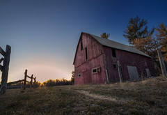 Luskville Abandoned Barn (SNAPShots by Patrick J. Whitfield) Tags: abandoned architecture dof detail light lines patterns texture old shadows outside landscapes colours red barn sky