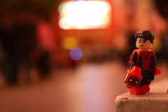 """""""I don't feel so good."""" (Alternate) (RagingPhotography) Tags: lego spiderman spider man outside outdoor outdoors bright light lights bokeh red superhero super hero marvel comic book books character plastic minfigure minifig figure toy toys avengers infinity war dont feel good ragingphotography"""