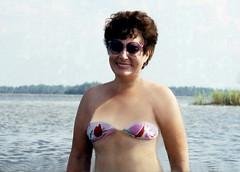 Pine Island bikini fun, 1986 (clarkfred33) Tags: art creative wade bikini swimwear smile 1986 wetfun funlady cute attractive