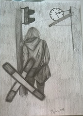 Bahnofsgeschichte (Mealynn) Tags: zeichnen zeichnung bleistift bleistiftzeichnung pencil drawing people men man train trainstation clock uhr bahnhof zug ampel flashlight kreuz cross black schwarz metal dark