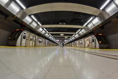 First Train (Nicoli OZ Mathews) Tags: ttc subway night art toronto canon canada flickr explore light rokinon rokinon8mm urban ttcsubway station subwaystation 8mm fisheye transit travel