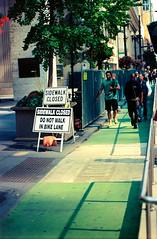 Just Another Symptom.jpg (Milosh Kosanovich) Tags: looplink chicagophotoart chicagophotographicart chicago cinestillc41kitblixseparated chicagophotographicartscom construction miloshkosanovich sidewalkclosed ignoringsigns mickchgo minoltax700 kodakektar100 bicyclelane downtownchicago
