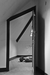 Hans # 3 (just.Luc) Tags: man male homme hombre uomo mann attic zolder grenier bn nb zw monochroom monotone monochrome bw door deur porte tür torsenu barechested shirtless laying liggend couché seminu seminude