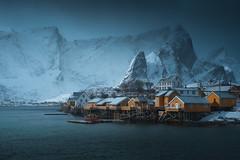 Arctic Housing (ChristianHoiberg) Tags: lofoten norway sakrisøy village mountains arctic winter storm cold blue reine northern houses dark