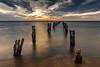 Looking forward.. (Goldmanoz) Tags: thedell cliftonsprings pier ruins ocean sea water bay geelong bellarinepeninsula sky clouds sunset twilight dusk sand beach wood posts longexposure