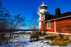 Lighthouse, still standing (Joni Mansikka) Tags: winter nature seaside lighthouse shore sea snow ice sky blue trees outdoor landscape coast balticsea kallo pori suomi finland canonef2470mmf28lusm