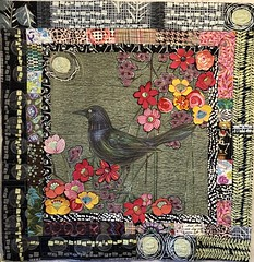 Raven Collage (Explored 4/7/18...thank you so much!) (opal c) Tags: silk raven crow goldthread handstitching quilted art