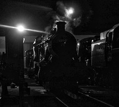 Great Central Railway Loughborough Leicestershire 8th April 2018 (loose_grip_99) Tags: great central western railway railroad rail gwr gcr train steam engine locomotive loughborough leicestershire eastmidlands england uk blackwhite noiretblanc hawksworth modified hall 460 6990 witherslackhall preservation shed mpd depot prep transportation shadows uksteam trains railways night nighttime april 2018