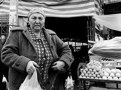 Osh Bazaar, Bishkek, Kyrgyzstan - Mar' 2017 (Konrad Lembcke) Tags: bishkek osh bazaar kyrgyzstan asia market streetphotography black white monochrome kygyzstan daily life street photography shopping fresh people local food urban central zentralasien bischkek kirgisien kigisistan candid center city documentary trade