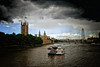 Storm on the Thames River in London, United Kingdom (` Toshio ') Tags: toshio london england unitedkingdom greatbritain parliament londoneye tug boat rain storm clouds europe european fujixt2 xt2 river thamesriver thames trees