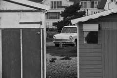 Hayling Island 21 April 2018 033 (paul_appleyard) Tags: hayling island april 2018 beach hut black white seaside hampshire ford anglia