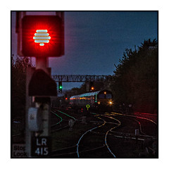 The Last Hurrah (david.hayes77) Tags: leicester 2018 6c33 aggregate freight class66 shed cargo night dusk reflections signal redlight eastmidlands arty square lasthurrah 12800asa grain image2000