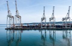 Steel Giraffes (Julian Chilvers) Tags: koper slovenia landscape machinery reflection water building harbour sea