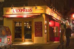 L'Express (madmurph14) Tags: cafe nightshot availablelight night nighttime nikon nikond850 nikondigital nikondslr dslr slr digital dark art artistic yellow red outdoors outside nyc ny newyork street streetscene shootthestreet urban