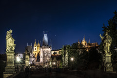 the other side of the bridge (the-father) Tags: charlesbridge karlsbruecke night light tower cupola hradschin prague praha prag czechrepublic tschechien statue