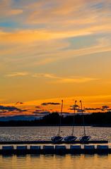 Reservoir Sport (stevenbulman44) Tags: sailing sunset color dock water reservoir mountains sky evening outdoor boat pier calgary spring dusk