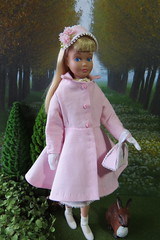 Enjoying Spring! (Foxy Belle) Tags: doll skipper coat make diy sew how swing 1960s retro vintage handmade ooak pink spring outside diorama garden plants trees hat purse cotton buttons
