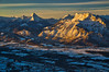 An early morning view from the Gaisberg to the Berchtesgaden Alps (echumachenco) Tags: view panorama outdoor landscape earlymorning sunrise winter december snow mountain mountains mountainside peak summit ridge alps berchtesgadeneralpen watzmann steinernesmeer hochkalter untersberg salzach valley salzachtal forest field village building house austria österreich salzburg sunlight shadow gaisberg sky cloud föhn