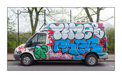Van Art (Time, Pher), East London, England. (Joseph O'Malley64) Tags: time pher graffiti vanart urbanart publicart freeart eastlondon eastend london england uk britain british greatbritain art artists artistry artwork van fordtransitvan deliveryvan trees meshfencing steelrailings steelfenceposts tarmac granitekerbing parkingbays parkingrestrictions writers throwies urban aerosol cans spray paint fujix fujix100t accuracyprecision