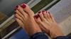 Alegra (IPMT) Tags: toenail sexy toes polish foot feet metallic fuchsia sparkling pedicure shimmer painted toenails pedi barefoot bright cherry red rojo vermelho glossy finish descalza pink rosado shimmering jeans blue