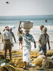 A Fishermans Catch. (eyecandyclick) Tags: birds balance nets fish sea beach sand fisherman landingnets central lungi busy people walking nature india landscape sunrise creative imagine